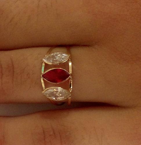 lindo anel com zirconias navete em ouro 18k bkjoias