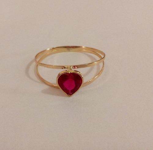 lindo anel coração vermelho em ouro 18k bkjoias