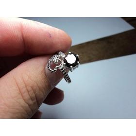 Lindo Anel De Prata Com Diamantes Negros 100% Natural 3.7 Gr