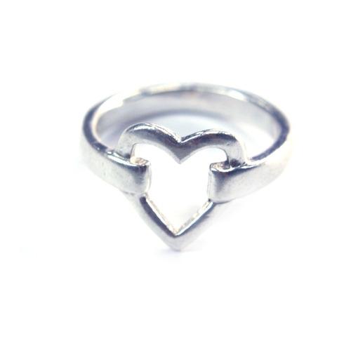 lindo anel em prata 925 com design de coração aro 16