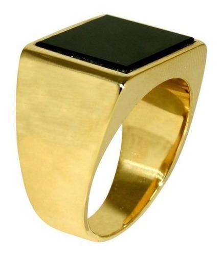 lindo anel masculino banhado a ouro 18k + frete gratis