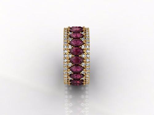 lindo anel  ouro,  diamantes e rubi navetes naturais. luxo