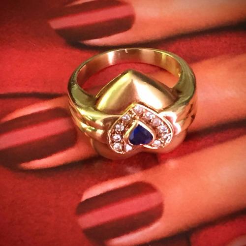 lindo anel ouro18k-6,8gr. aro:14, c/brilhantes