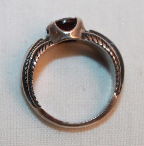 lindo anel pedra granada australiana, madre perola prata 925