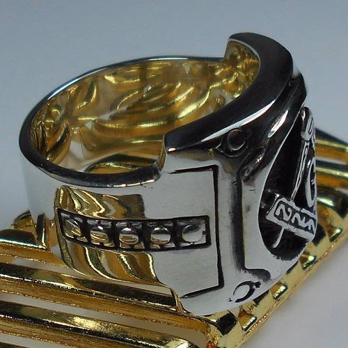 lindo anel prata masculino macom macico enorme frete gratis