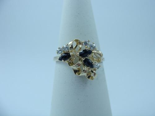 lindo anillo de oro 10k con zafiro, rubí, esmeraldas