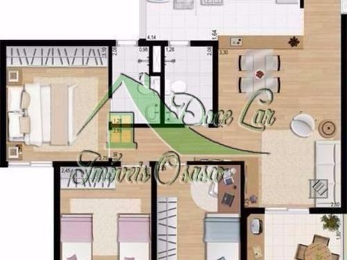 lindo apartamento de 3 dormitórios, flex ii, carapicuíba.