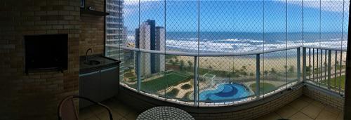lindo apto -frente mar -varanda churrasqueira - praia grande