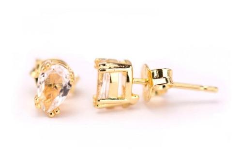 lindo brinco gota de cristal delicado folheado a ouro 18k