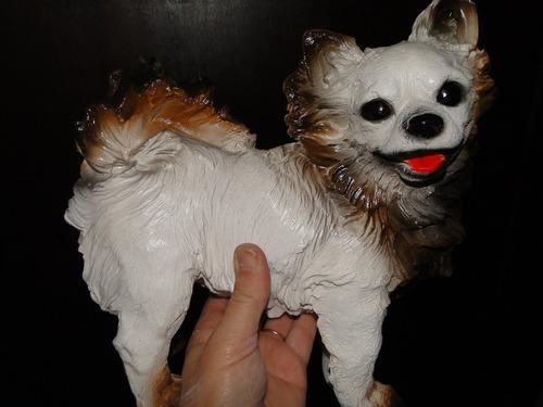 lindo !!!!  cão  lulu  de  gesso        30  x  28  cm