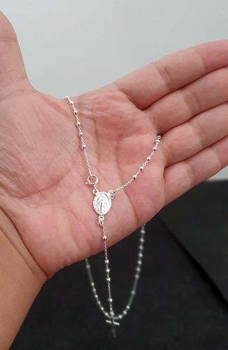 lindo colar corrente em terço bolinhas 50cm em prata 925