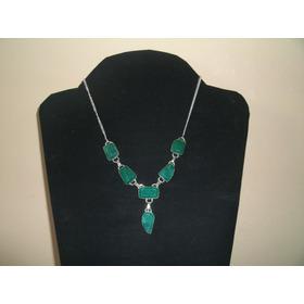 Lindo Colar Em Prata Com Pedras De Esmeralda 100% Natural
