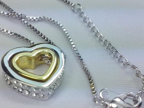 lindo colar gargantilha folheada prata feminino pingente mod