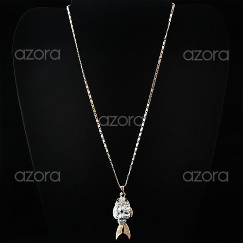 lindo colar peixe cristal swarovski ouro rose 18k semi jóia