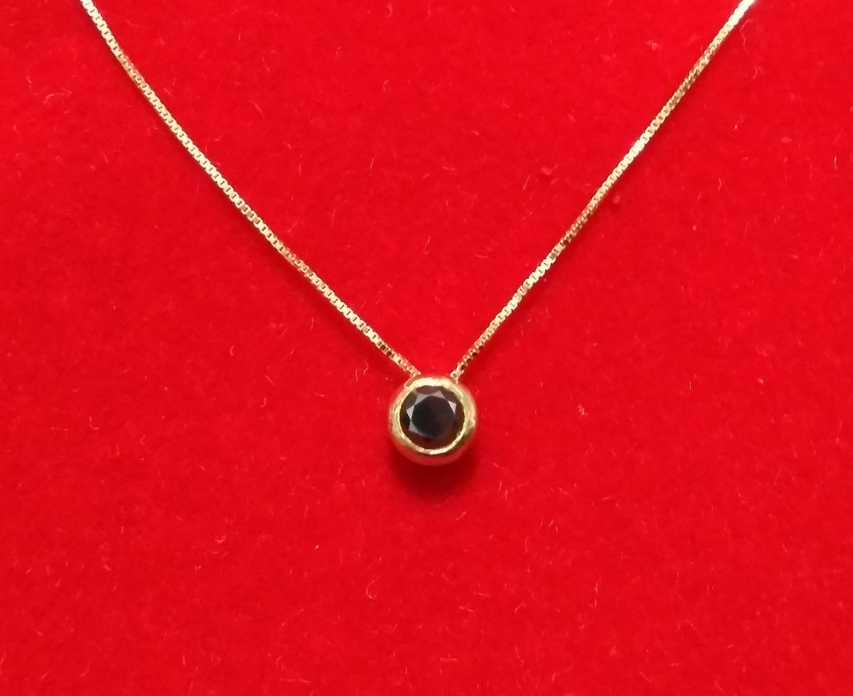 585182cdd4ba5 Lindo Colar Ponto De Luz Ouro 18k Diamante Negro 20 Pontos! - R ...