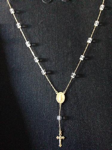 lindo colar rosário com cristais em ouro 18 kts