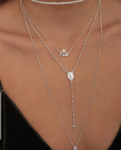 lindo colar terço rosário em prata 925 corrente 50cm