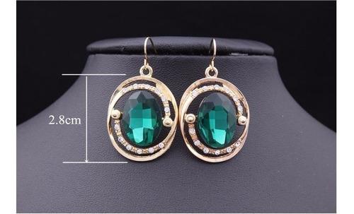 lindo conjunto colar e brinco pedra verde banhado a ouro