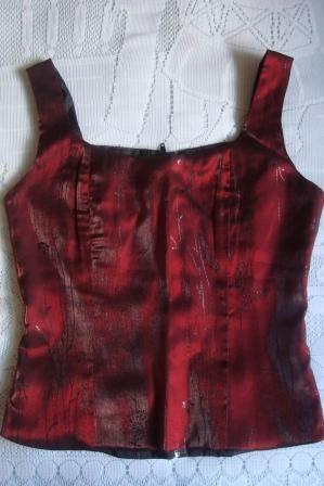 lindo corset tafetá tam. p cor vinho