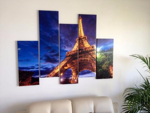 lindo cuadro cuadriptico de la torre eiffel -