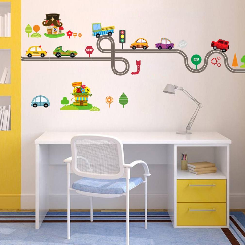 Lindo Dibujos Animados Coches Bebé Niños Dormitorio Habita