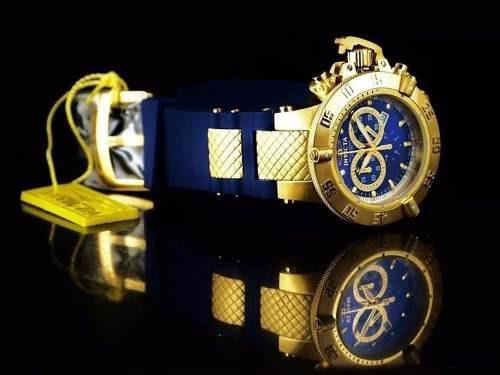 lindo e20238 relógio invicta 5515 dourado azul lindo top
