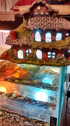 lindo enfeite para aquário frente de casa de três andares