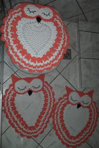 lindo jogo de banheiro de coruja em crochê 100% algodão
