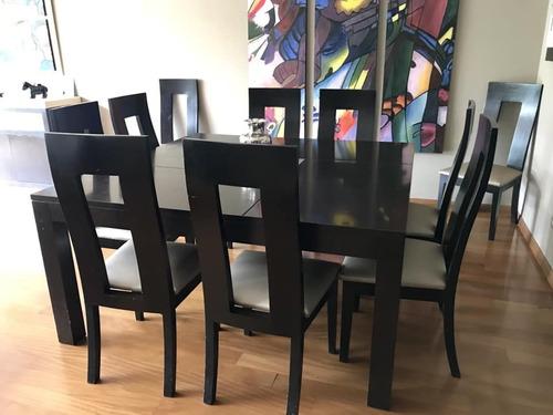 lindo juego de comedor de madera con 10 sillas