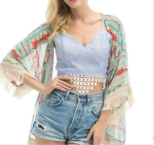 85bf23312cf Lindo Kimono Feminino Cardigan Casaco Franja Moda Verão - R  54