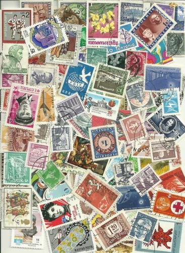 lindo lote 350 selos vários países - frete registrado 3,00