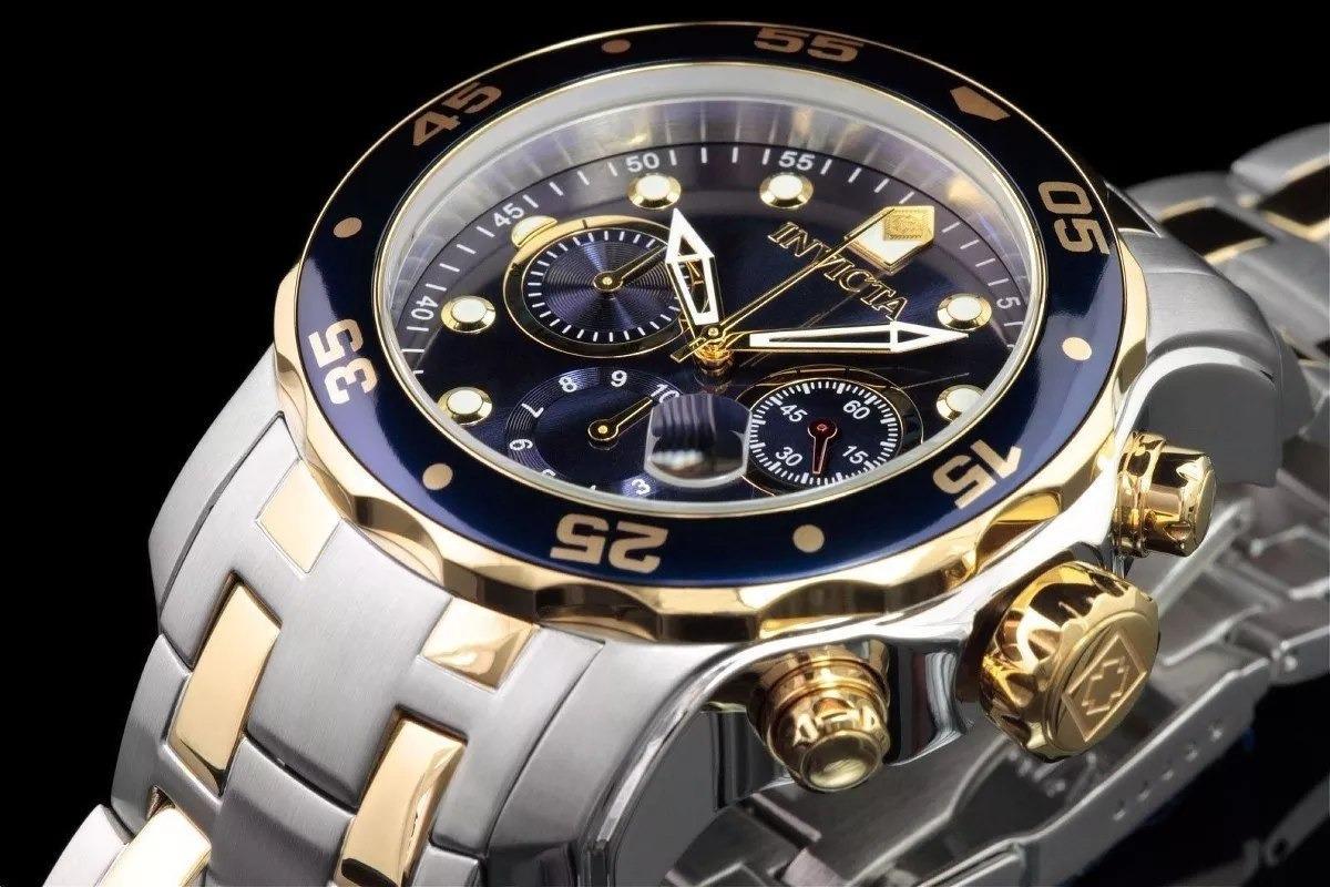 4871fbe32b lindo m20222 relógio invicta pro diver 0077 prata dourado. Carregando zoom.