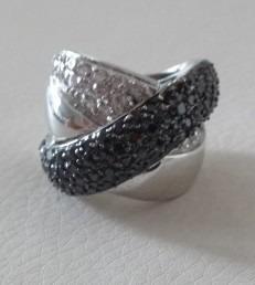 lindo maxi anel c/zircônias swarovski negro semijoia aro 14