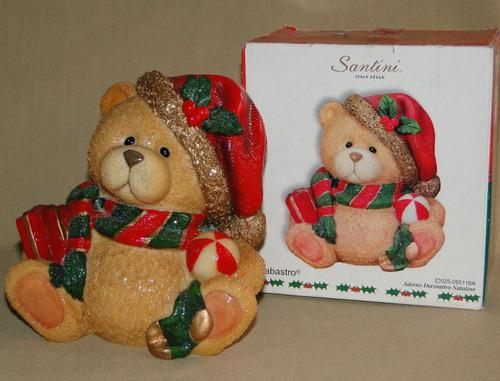lindo oso navideño decorativo marca santini.