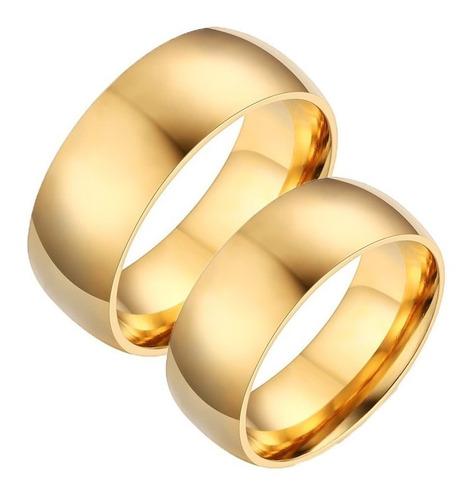 lindo par  alianças  8mm folheadas a ouro 18k