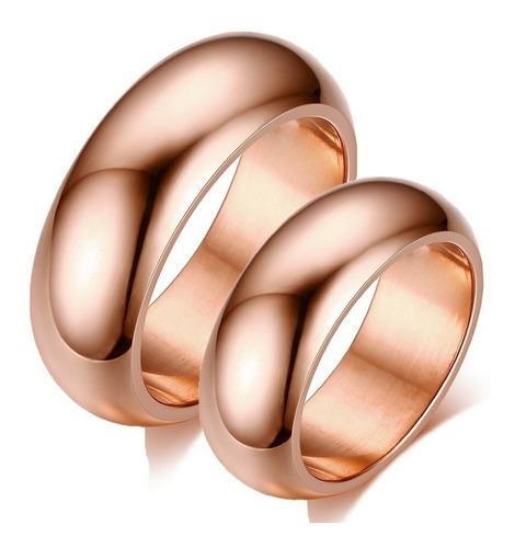 lindo par de alianças titânio 7mm folheado ouro rosê 18k