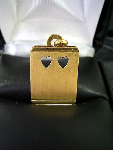 lindo  pingente  2 corações   em ouro 18k   legitmo  !