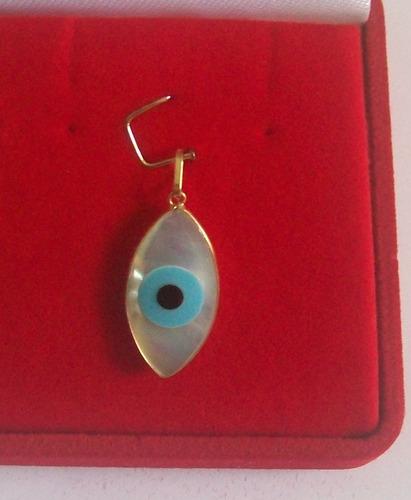 lindo pingente de olho grego em madrepérola, ouro 18k