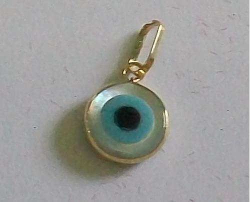 lindo pingente de olho grego madreperola, ouro 18k