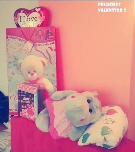 lindo regalo peluche hipopotamo c/vestido con amor +globo
