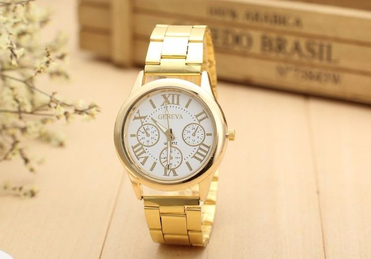 2de2611d398 Lindo Relógio Feminino Dourado Luxo Casual Geneva Elegante - R  40 ...