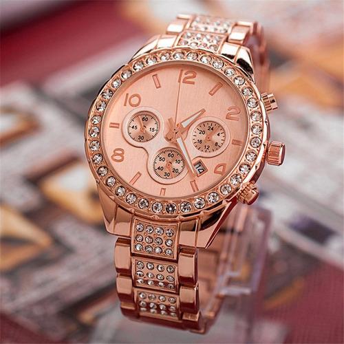 lindo relógio feminino rose com strass e calendário geneva