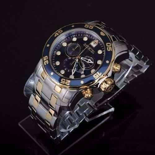lindo relógio invicta iv37 pro diver 0077 prata dourado novo