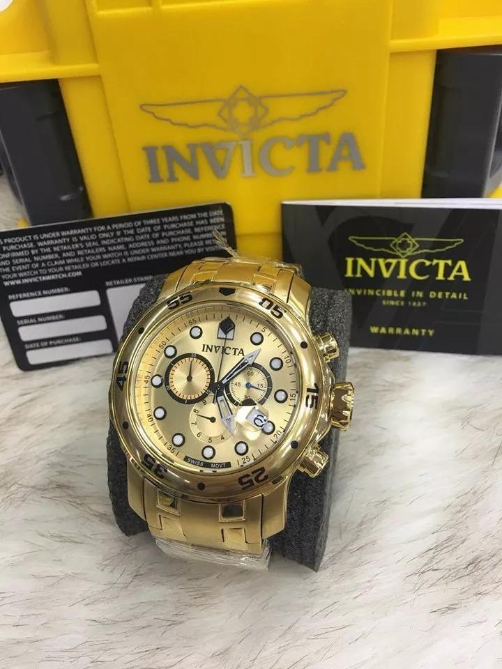 fbbbf2e3b72 lindo relógio invicta pro diver scuba 0074 -banhado ouro 18k. Carregando  zoom.