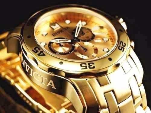 5095ce7d775 Lindo Relogio Invicta Pro Diver Scuba 0074 -banhado Ouro 18k - R ...