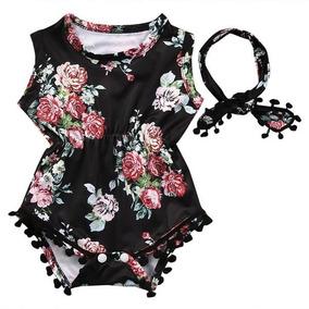 04ad2cb0b Lindo Romper Floral Para Bebés Niñas Sin Mangas Con Diadema