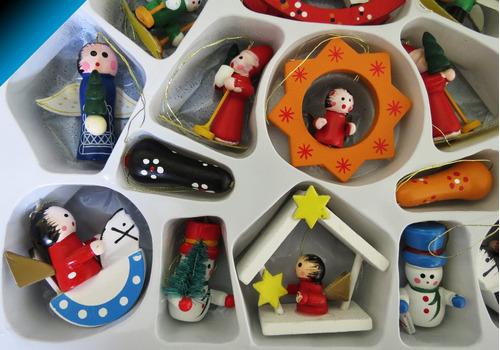 lindo set adornos navideos colgables madera figuras