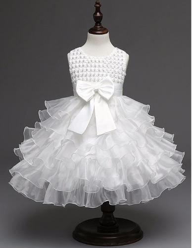 lindo vestido batizado daminha festa casamento branco (luxo)