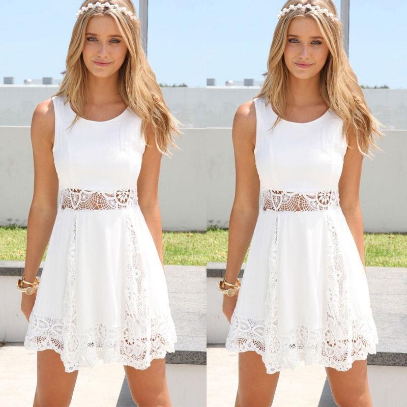 bd986c4bc0 lindo vestido casual festa renda branco rodado fim de ano. Carregando zoom.