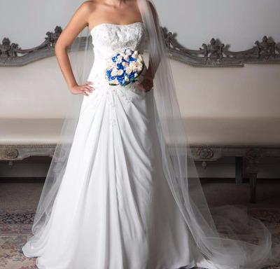 lindo vestido de novia color ivory, un solo uso, americano